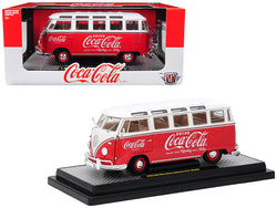 "1960 Volkswagen Microbus Deluxe U.S.A. Model ""Coca-Cola"" Red with White Top Limited Edition to 9,600 pieces Worldwide 1/24 Diecast Model by M2 Machines"