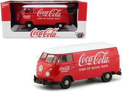 "1960 Volkswagen Delivery Van ""Coca-Cola"" Red with White Top Limited Edition to 2,000 pieces Worldwide 1/24 Diecast Model by M2 Machines"