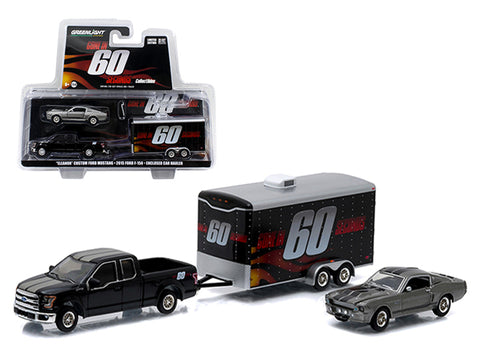 "2015 Ford F-150 Pickup Truck and 1967 Custom Ford Mustang ""Eleanor"" with Enclosed Car Hauler Set ""Gone in 60 Seconds"" Movie 1/64 Diecast Model Cars by Greenlight"