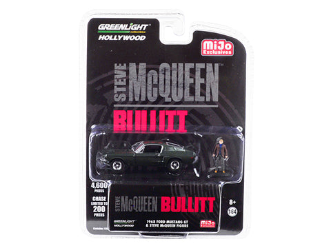 "1968 Ford Mustang GT Green with Steve McQueen Figurine ""Bullitt"" (1968) Movie Limited Edition to 4600 pieces Worldwide 1/64 Diecast Model Car by Greenlight"