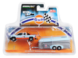 "2017 Chevrolet Silverado Pickup Truck and Aerovault Trailer ""Gulf Oil"" ""Hitch & Tow"" Series Limited Edition to 2,760 pieces Worldwide 1/64 Diecast Models by Greenlight"