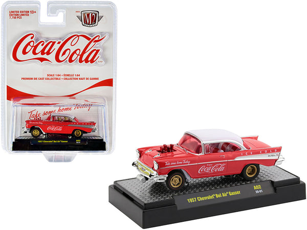 "1957 Chevrolet Bel Air Gasser ""Coca-Cola"" Coke Red with White Top, White and Red Interior and Clear Red Windows Limited Edition to 7,750 pieces Worldwide 1/64 Diecast Model Car by M2 Machines"