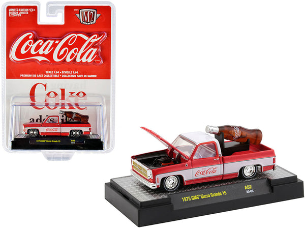 "1975 GMC Sierra Grande 15 Pickup Truck Coke Red and White with White Interior and ""Coca-Cola"" Bottle Limited Edition to 9,250 pieces Worldwide 1/64 Diecast Model Car by M2 Machines"