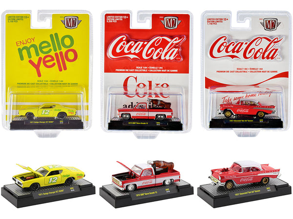 """Coca-Cola & Mello Yello"" (3 Piece Set) 1/64 Diecast Models by M2 Machines"