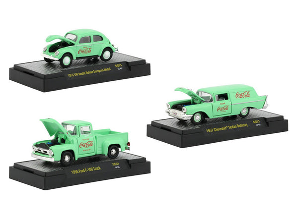"""Coca-Cola"" Green ""Hobby Exclusive"" (3 Piece Set) Limited Edition to 4800 pieces Worldwide 1/64 Diecast Models by M2 Machines"