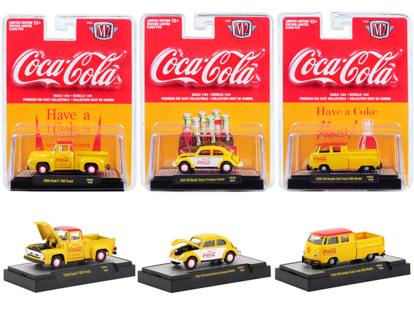 """Coca-Cola"" (3 Piece Set) Yellow Release #2 Limited Edition to 9,600 pieces Worldwide ""Hobby Exclusive"" 1/64 Diecast Model Cars by M2 Machines"
