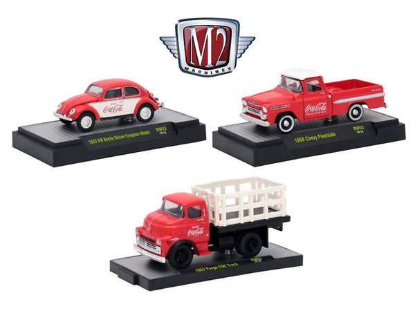 """Coca-Cola"" Release #3 (3 Car Set) Limited Edition to 4,800 pieces Worldwide Hobby Exclusive 1/64 Diecast Models by M2 Machines"