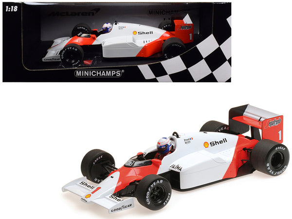 "McLaren TAG MP4/2C #1 Alain Prost ""Shell"" World Champion (1986) 1/18 Diecast Model Car by Minichamps"""