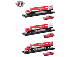 "Auto Haulers ""Coca-Cola"" Release (3 Truck and Car Set) 1/64 Diecast Models by M2 Machines"