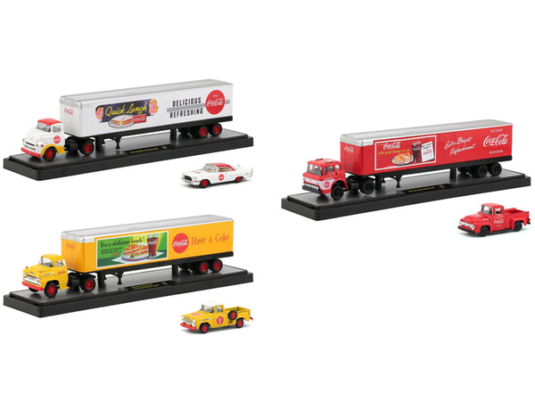"Auto Haulers ""Coca-Cola"" (3 Truck Set) ""Quick Lunch"" Release 1/64 Diecast Models by M2 Machines"