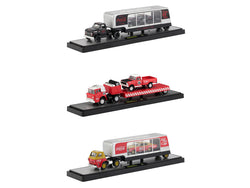 "Auto Haulers Race Version ""Coca-Cola"" (3 Truck Set) 1/64 Diecast Models by M2 Machines"