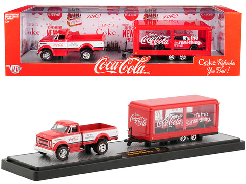 "1970 Chevrolet C60 Pickup Truck Coke Red and White with Trailer and 1968 Chevrolet Camaro SS 350 Coke Red with Black Hood ""Coca-Cola"" Limited Edition Set to 5,880 pieces Worldwide 1/64 Diecast Models by M2 Machines"