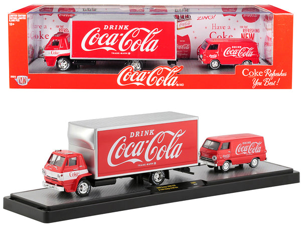 "1969 Dodge L600 COE Truck Coke Red with White Stripe and 1964 Dodge A100 Van Coke Red ""Coca-Cola"" Limited Edition Set to 5,880 pieces Worldwide 1/64 Diecast Models by M2 Machines"