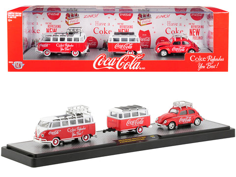 "1959 Volkswagen Microbus Deluxe U.S.A. Model with Roof Rack Red and White Top with Trailer and 1953 Volkswagen Beetle Deluxe U.S.A. Model Red with Roof Rack ""Coca-Cola"" Limited Edition Set to 5,880 pieces Worldwide by M2 Machines"