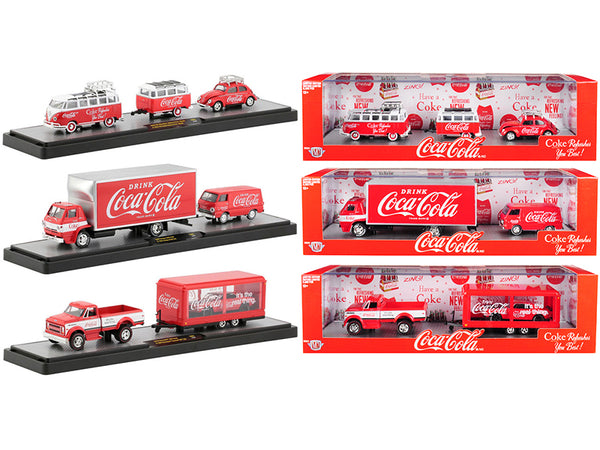 "Auto Haulers ""Coca-Cola"" (3 Piece Set) Great Release Limited Edition to 5880 pieces Worldwide 1/64 Diecast Models by M2 Machines"