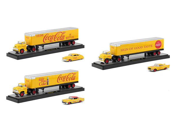 "Auto Haulers ""Coca-Cola"" Release (3 Truck Set) Yellow 1/64 Diecast Models by M2 Machines"