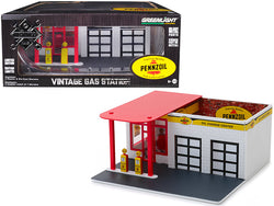 "Mechanic's Corner ""Pennzoil"" Vintage Service Gas Station ""10 Minute Oil Change Center"" Diorama  for 1/64 Scale Models by Greenlight"
