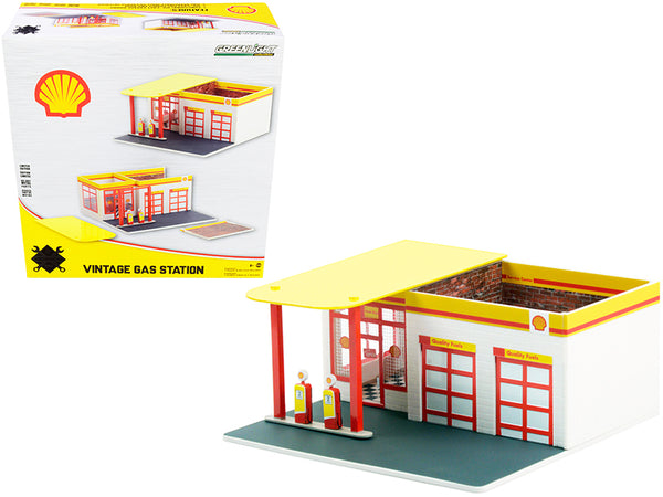 "Vintage Gas Station Diorama ""Shell Oil #2"" Service Station ""Mechanic's Corner"" Series #7 for 1/64 Scale Models by Greenlight"