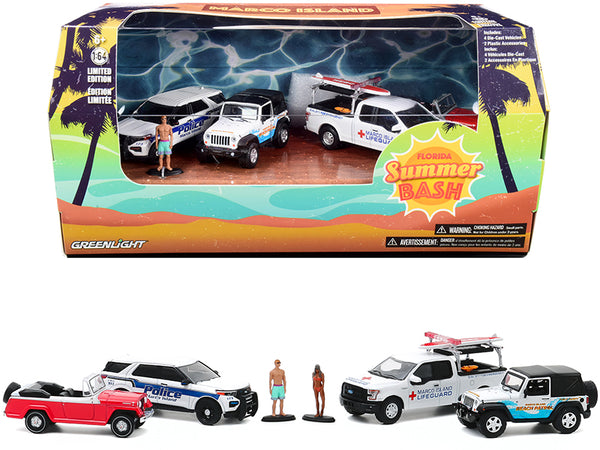 "Marco Island ""Florida Summer Bash"" 6 Piece Diorama (Vehicles and Figures) 1/64 Diecast Models by Greenlight"