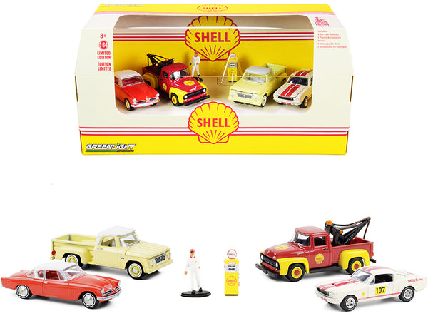 """Shell Oil Service Center"" (6 piece Diorama Set - 4 Cars with 1 Figure and a Gas Pump) 1/64 Diecast Models by Greenlight"