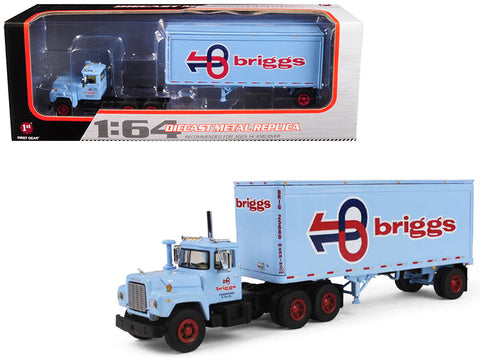 Mack R Model With 28' Pop Trailer Briggs Transportation 1/64 Diecast Model by First Gear
