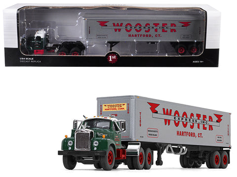 "Mack B-61 Day Cab Green with 40' Vintage ""Wooster Express Inc."" Trailer #15 in a ""Fallen Flag Series"" 1/64 Diecast Model by First Gear"
