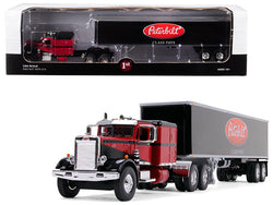 "Peterbilt 351 Sleeper Cab with 40' Vintage Trailer ""Peterbilt Class Pays"" Red and Black 1/64 Diecast Model by First Gear"