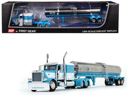 "Peterbilt 389 with 63"" FlatTop Sleeper Cab and Walker Sanitary Tanker Trailer ""Mies & Sons Trucking"" Blue and White 1/64 Diecast Model by DCP/First Gear"