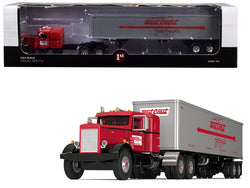 "Peterbilt 351 36"" Sleeper Cab with 40' Vintage ""West Coast Fast Freight"" Trailer Red and Gray #24 in a ""Fallen Flags Series"" 1/64 Diecast Model by First Gear"