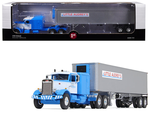 "Peterbilt 351 Long Frame with 63"" Sleeper Bunk and 40' Vintage (Reefer) Refrigerated Trailer ""Little Audrey's Transportation"" Blue and White #26 in the ""Fallen Flags Series"" 1/64 Diecast Model by First Gear"