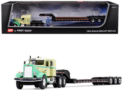 "Peterbilt 351 with 36"" Sleeper Cab and Tri-Axle Lowboy Trailer Green and Tan 1/64 Diecast Model by DCP/First Gear"