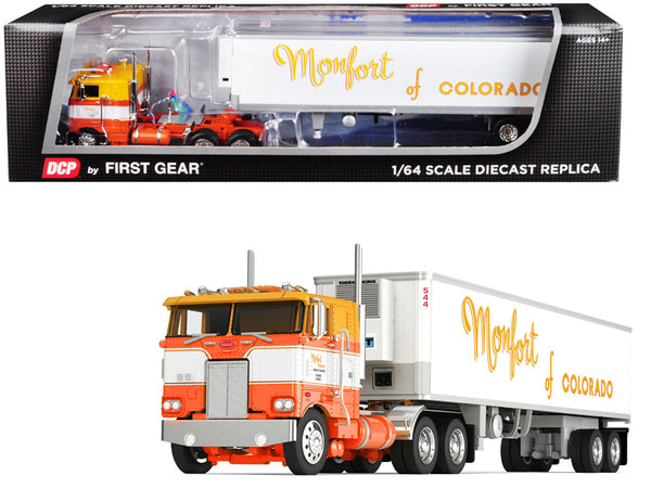 "Peterbilt 352 COE with Sleeper Cab and 40' Vintage Thermo King Reefer (Refrigerated) Trailer ""Monfort of Colorado"" White and Orange #23 in a ""Fallen Flags Series"" 1/64 Diecast Model by DCP/First Gear"
