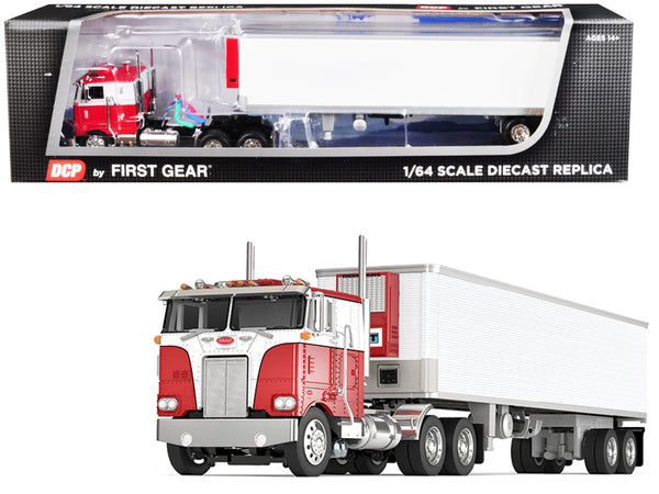 Peterbilt 352 COE Sleeper Cab with 40' Vintage Thermo King Reefer (Refrigerated) Trailer Red and White 1/64 Diecast Model by DCP/First Gear