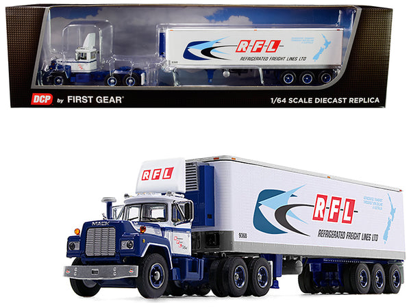 "Mack R Day Cab with 40' Vintage Reefer Refrigerated Tri-Axle Trailer ""RFL Refrigerated Freight Lines Ltd"" #31 in a ""Fallen Flag Series"" 1/64 Diecast Model by DCP/First Gear"