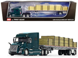 Volvo VNL 760 Mid-Roof Sleeper Cab Forest Green with Wilson Flatbed Trailer and Lumber Load 1/64 Diecast Model by DCP/First Gear