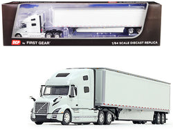 Volvo VNL 760 High-Roof Sleeper Cab with 53' Dry Goods Trailer and Skirts Glacier White 1/64 Diecast Model by DCP/First Gear