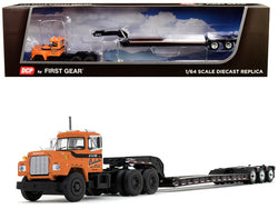 "Mack R Day Cab with Talbert Tri-Axle Lowboy Trailer ""J.V. III Construction Inc."" Orange 1/64 Diecast Model by DCP/First Gear"