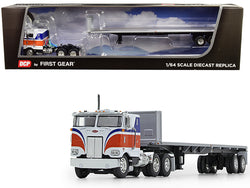 "Peterbilt 352 COE with 86"" Sleeper Cab with Utility Flatbed Trailer with Bulkhead Orange 1/64 Diecast Model by DCP/First Gear"