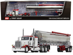 "Peterbilt 389 36"" Flattop Sleeper Cab with Walinga Tandem-Axle Bulk Feed Trailer White and Chrome 1/64 Diecast Model by DCP/First Gear"