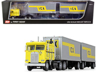 "Kenworth K100 COE Truck with Wabash Double Pup Trailers ICX"" (Illinois California Express) Yellow and Silver #32 in a ""Fallen Flag Series"" 1/64 Diecast Model by DCP/First Gear"
