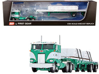 "Peterbilt 352 COE 86"" Sleeper Cab with 48' Flatbed Spread-Axle Trailer with Shingle Load ""George Van Dyke Trucking"" Green and White 1/64 Diecast Model by DCP/First Gear"