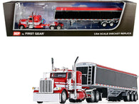 "Peterbilt 389 36"" Flattop Sleeper Cab with Lode King Distinction Tri-Axle Hopper Trailer Red and Black 1/64 Diecast Model by DCP/First Gear"