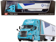 "2018 Freightliner Cascadia High-Roof Sleeper Cab with 53' Utility Dry Goods Trailer with Side Skirts ""GP Transco"" Light Blue and White 1/64 Diecast Model by DCP/First Gear"