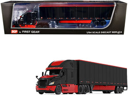 2018 Freightliner Cascadia High-Roof Sleeper Cab with 52' Wabash DuraPlate Trailer with Skirts Black and Red 1/64 Diecast Model by DCP/First Gear