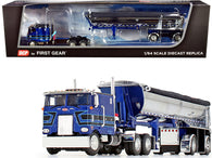 "Peterbilt 352 COE 110"" Sleeper Cab with MAC Half Round End Dump Spread-Axle Trailer ""Blue Leasing"" Blue Metallic and Chrome 1/64 Diecast Model by DCP/First Gear"