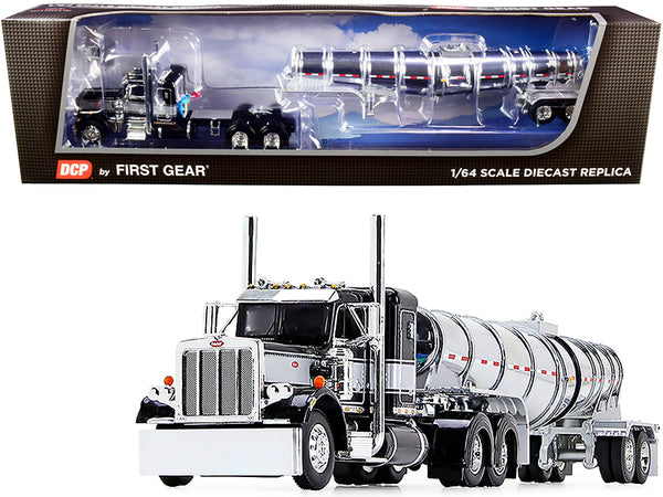 "Peterbilt 359 Day Cab Black and Silver with Chrome 36"" Sleeper Bunk and Polar Deep Drop Tank Trailer 1/64 Diecast Model by DCP/First Gear"