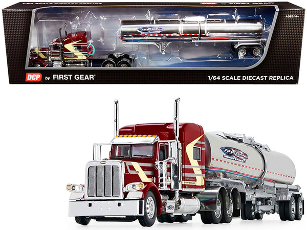 "Peterbilt 389 70"" Mid Roof Sleeper Cab with Brenner Chemical Tank Trailer ""Time D.C."" Burgundy 1/64 Diecast Model by DCP/First Gear"