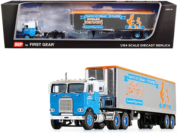 "White Freightliner COE with 40' Vintage Reefer Refrigerated Trailer ""Howard Johnson's"" #34 in a ""Fallen Flag Series"" 1/64 Diecast Model by DCP/First Gear"