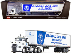 "Mack Anthem Day Cab with 53' Dry Goods Trailer ""Global CFS Inc."" White and Blue 1/64 Diecast Model by DCP/First Gear"