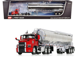 Mack Anthem Day Cab with Walinga Bulk Feed Tri-Axle Trailer Red and Silver 1/64 Diecast Model by DCP/First Gear